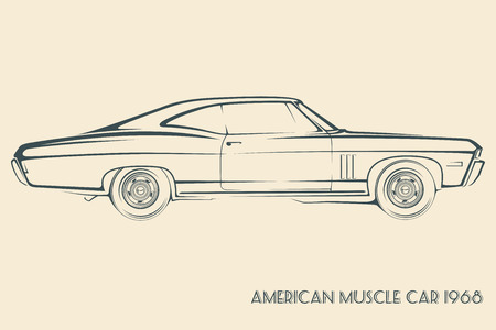 Impala: American muscle car silhouette 60s vintage vector
