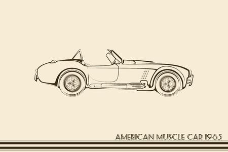 cabrio: American muscle car silhouette 60s vintage vector