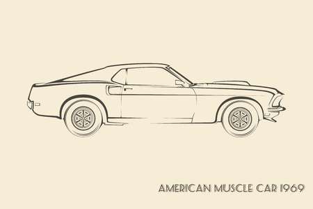 60s: American muscle car silhouette 60s vintage vector