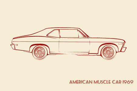 old car: American muscle car silhouette 60s vintage vector