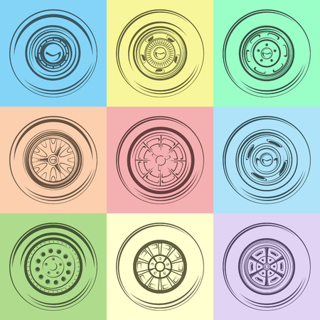 tubeless: Retro Wheels Silhouette 60s for auto. Pastel colors.