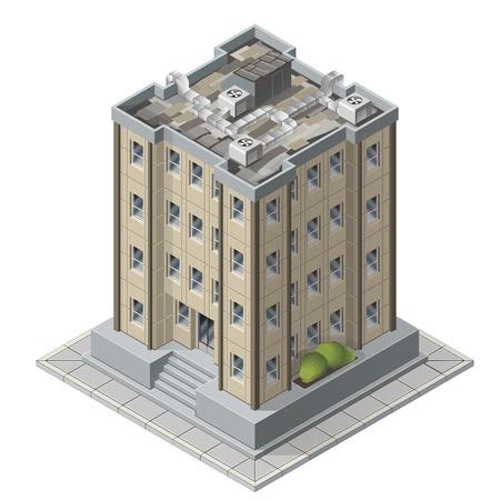 alto: Rascacielos La construcción de iconos isométricos para la ilustración vectorial juego de altos edificios de apartamentos modernos