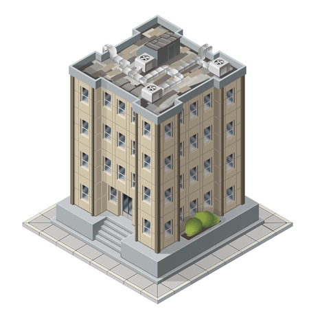 High rises isometric building icons for game vector illustration of tall modern apartment buildings Illustration