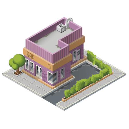 overhang: Vector isometric diner bar building icon
