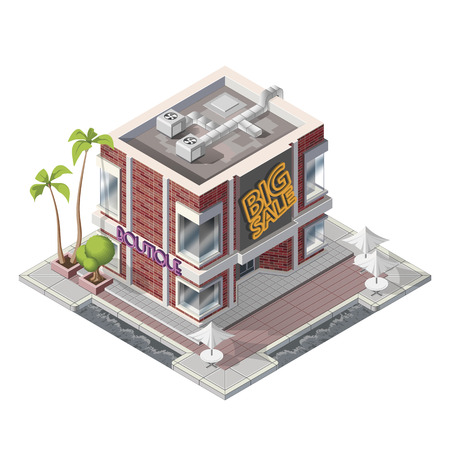 window case: Vector isometric cafe shop building icon