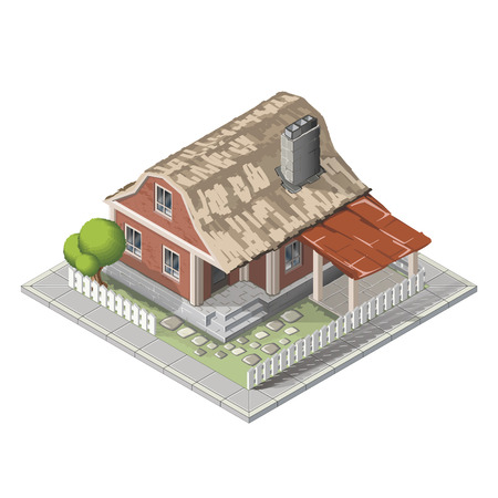 country house: Farm set in isometric view. Attributes for agriculture in the countryside. Farm building.  Farmhouse, mill, country house and a tractor. Vector flat illustration Illustration