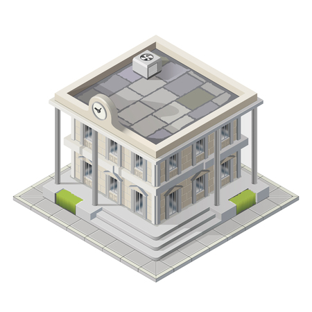 mayor: Vector mayoralty isometric building architecture public government buildings
