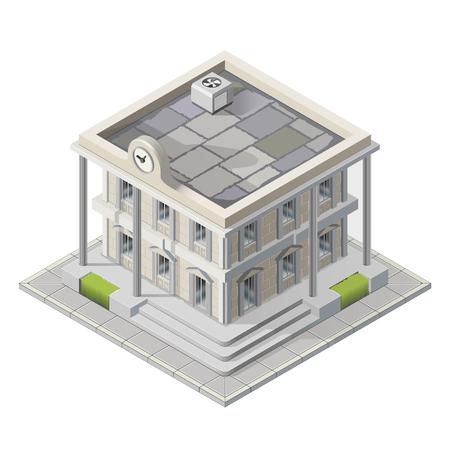 Wektor merostwie izometryczny architektury budynku budynków rządowych publicznych