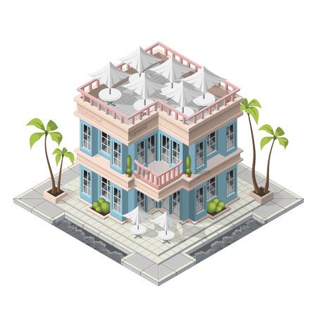window case: Vector isometric restaurant building icon Illustration