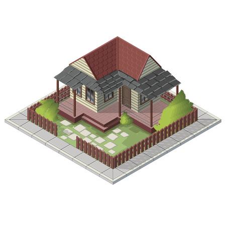 backyard: Vector isometric summer house building backyard icon