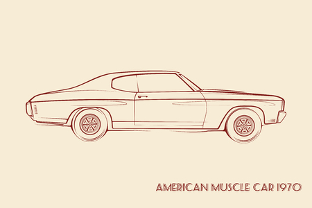car isolated: American muscle car silhouette 70s vintage vector