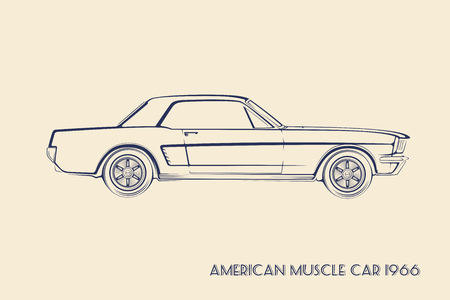 Américains des années 60 voiture de muscle silhouette vecteur vintage