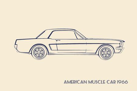 contours: American muscle car silhouette 60s vintage vector