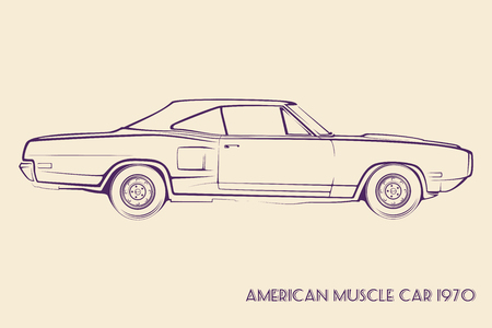black car: American muscle car silhouette 70s vintage vector