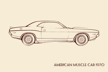 70s: American muscle car silhouette 70s vintage vector