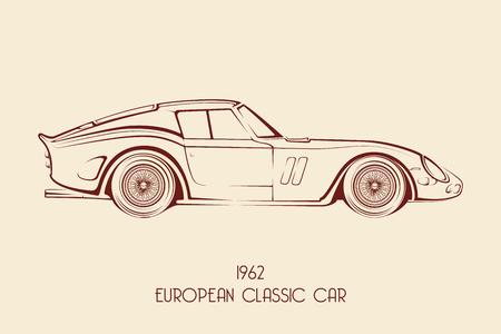 contours: Vintage european classic sports car silhouettes, outlines, contours. Vector illustration