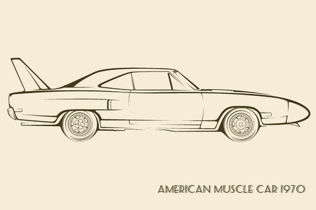 rod sign: American muscle car silhouette 70s vintage vector
