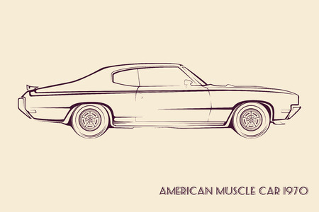 old cars: American muscle car silhouette 70s vintage vector