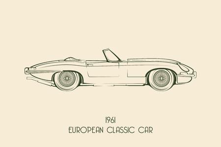 Set of vintage classic sports car silhouettes, outlines, contours. Vector illustration