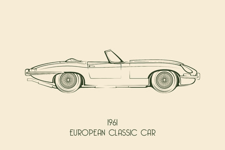 Set of vintage classic sports car silhouettes, outlines, contours. Vector illustration
