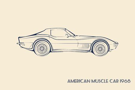 アメリカのマッスルカー シルエット 60 年代ビンテージ ベクトル  イラスト・ベクター素材