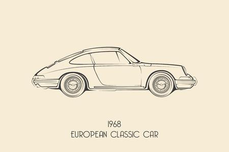 Vintage Europese klassieke sportwagen silhouetten, lijnen, contouren. vector illustratie Stock Illustratie