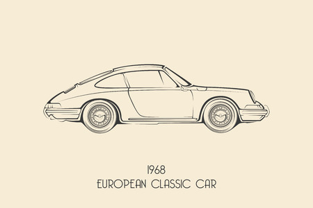 Vintage european classic sports car silhouettes, outlines, contours. Vector illustration