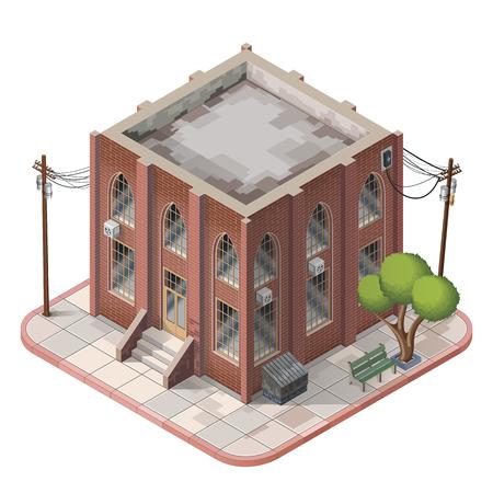 Brick building isometric icons illustration
