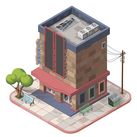 isometric cinema building illustration