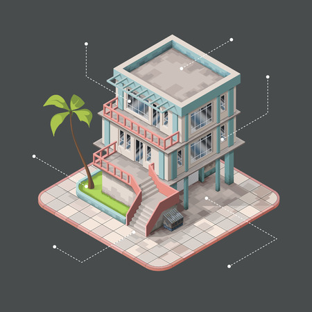 3d bungalow: Isometric infographic representing modern house