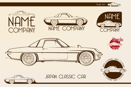 old fashioned car: Japan classic sports car silhouettes, outlines, contours. Vector logotype