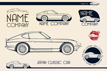 Japan classic sports car silhouettes, outlines, contours.