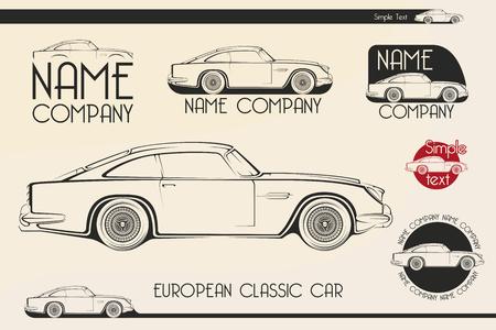 European classic sports car silhouettes, outlines, contours. 矢量图像