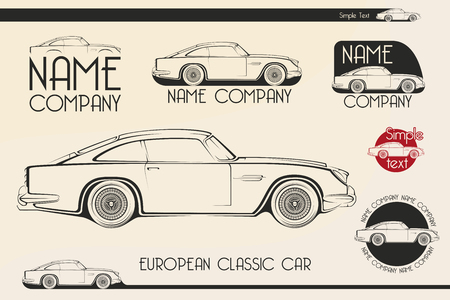 car isolated: European classic sports car silhouettes, outlines, contours. Illustration