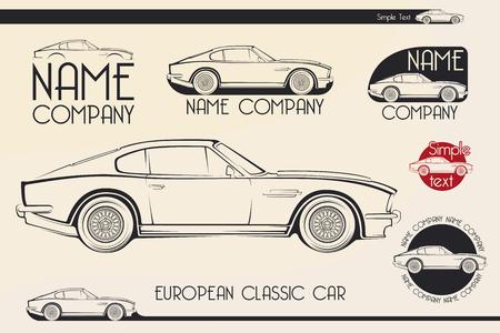 contours: European classic sports car silhouettes, outlines, contours. Your Logo