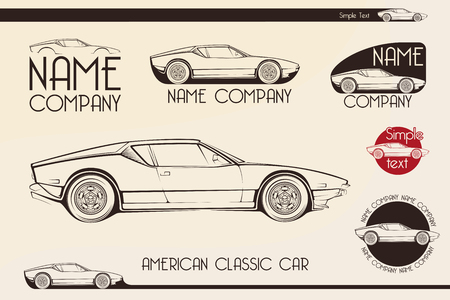 American classic sports car silhouettes, outlines, contours.