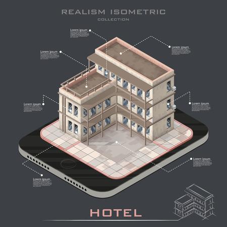 albergo: Realistico Vector isometrica albergo icona edificio infografica