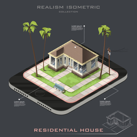 suburban street: Realistic isometric House on Earth icon. Line contour. infographic
