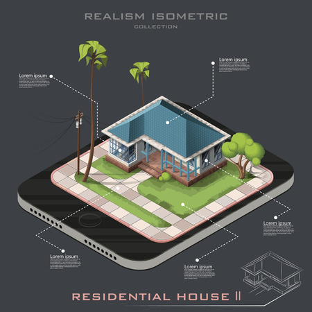 Realistic Vector isometric American House on Earth icon. Line contour. infographic