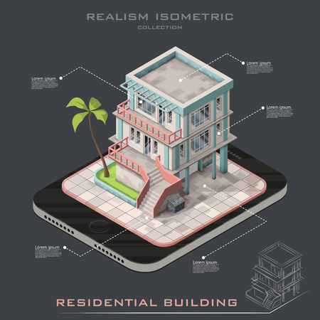 Realistic Isometric infographic representing modern house