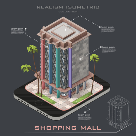 shopping mall: Realistic Isometric icon shopping mall building. Line building. Infographic
