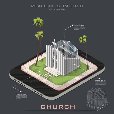 Vector isometric realistic Church on Earth. Line contour. infographic Illustration