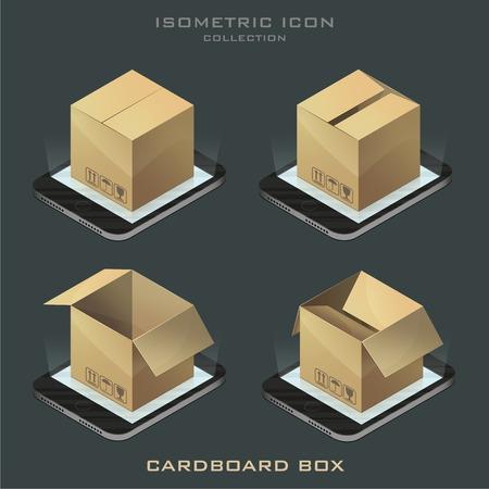 Illustration set of dark isometric cardboard boxes on the phone. app.