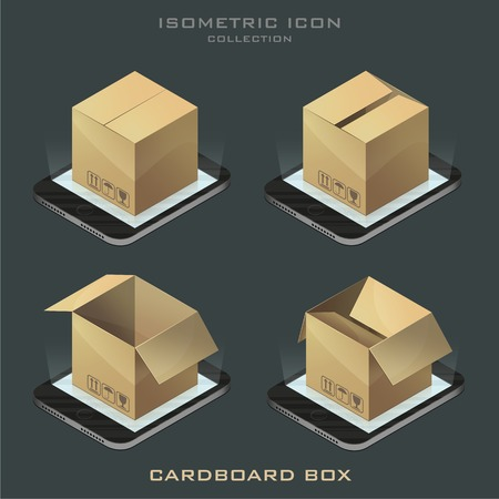 Illustration set of dark isometric cardboard boxes on the phone. app.