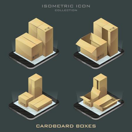 Illustration set of dark background isometric cardboard boxes on the phone. app.