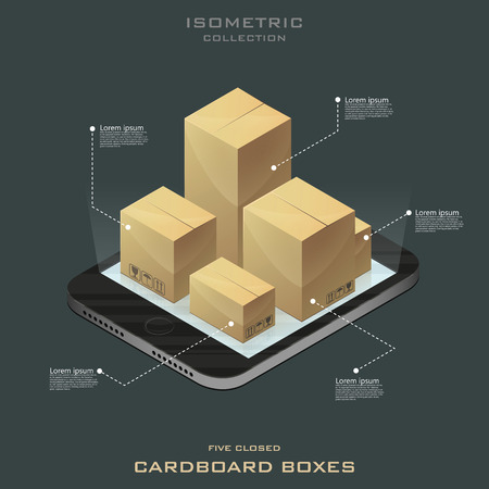 Five closed cardboard boxes in isometric. Online shopping. E-commerce vector. Infographic.