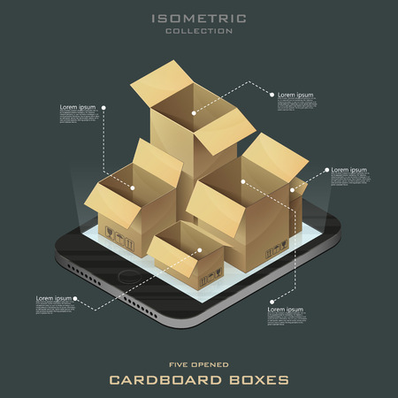 Five opened cardboard boxes in isometric. Online shopping. E-commerce vector. Infographic.