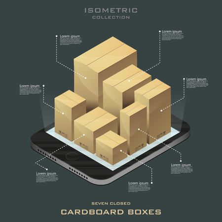 Seven closed cardboard boxes in isometric. Online shopping. E-commerce vector. Infographic.