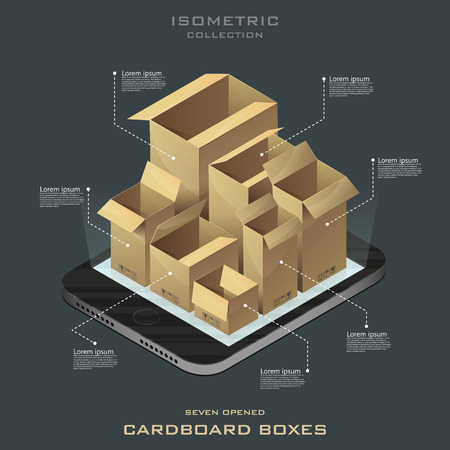 packing tape: Seven opened cardboard boxes in isometric. Online shopping. E-commerce vector. Infographic.