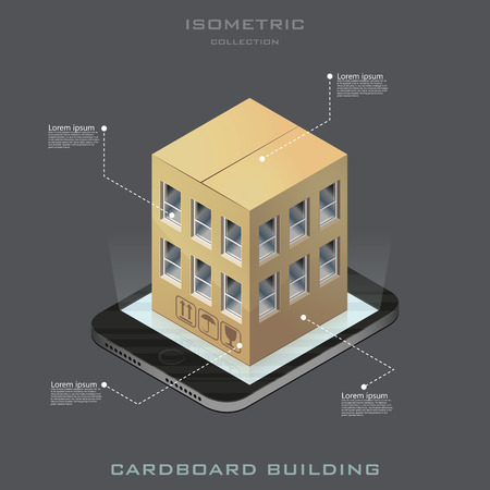 Vector isometric cardboard building icon. infographic. online shopping. Shoppin in your house